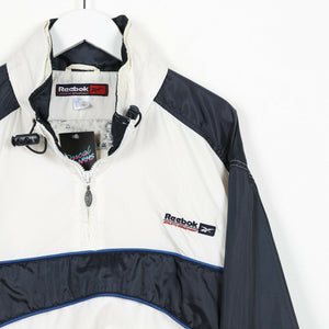 Vintage REEBOK Small Logo 1/4 Zip Soft Shell Windbreaker Jacket White small S