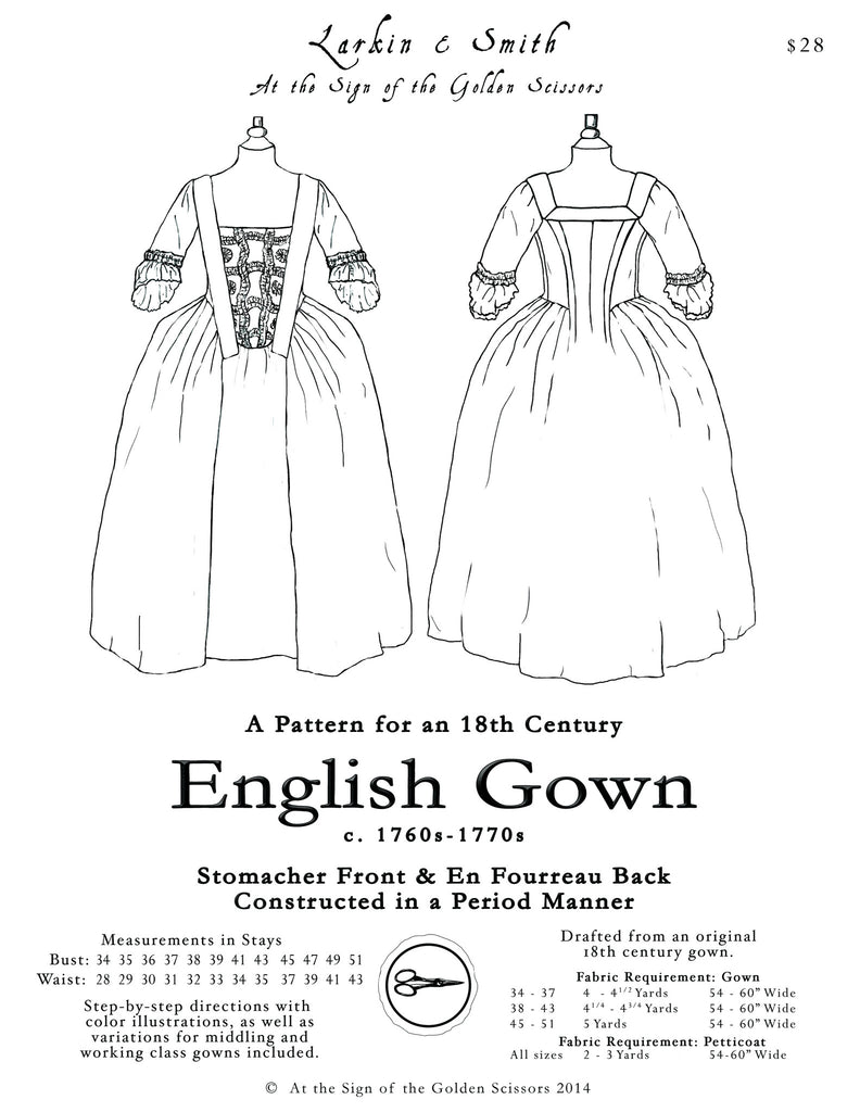 18th century english gown pattern golden scissors Yellow Petticoat 18th century english gown pattern