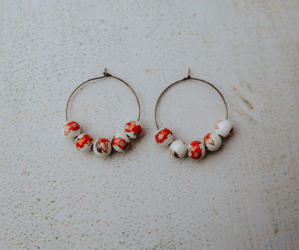 Help an Animal Hoops (vintage red floral procelain beads)