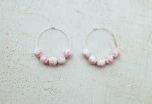 Help an Animal Hoops (vintage pink floral procelain beads)