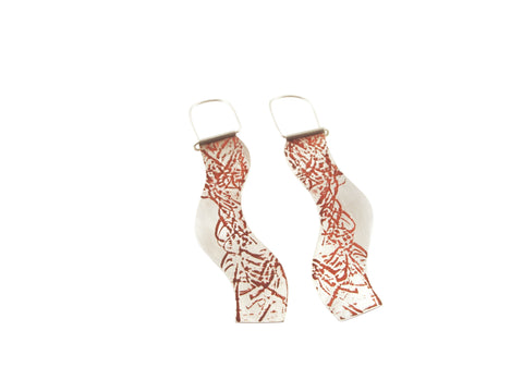 Red tide earrings by janine combes Australian contemporary jeweller