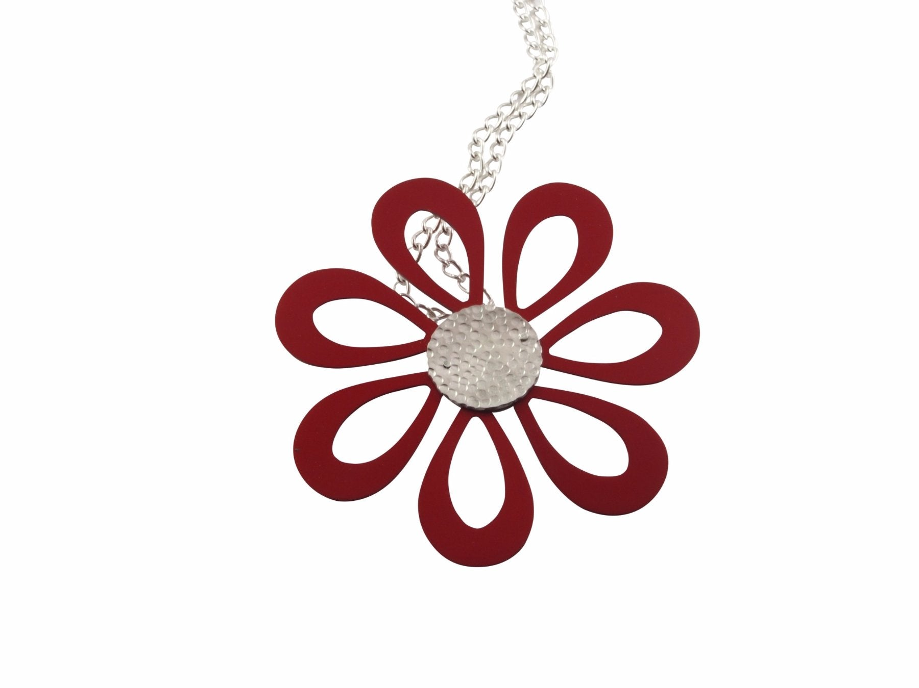Flower power necklace is made from anodised aluminium and sterling silver. Chain lengths vary depending upon your preferences.