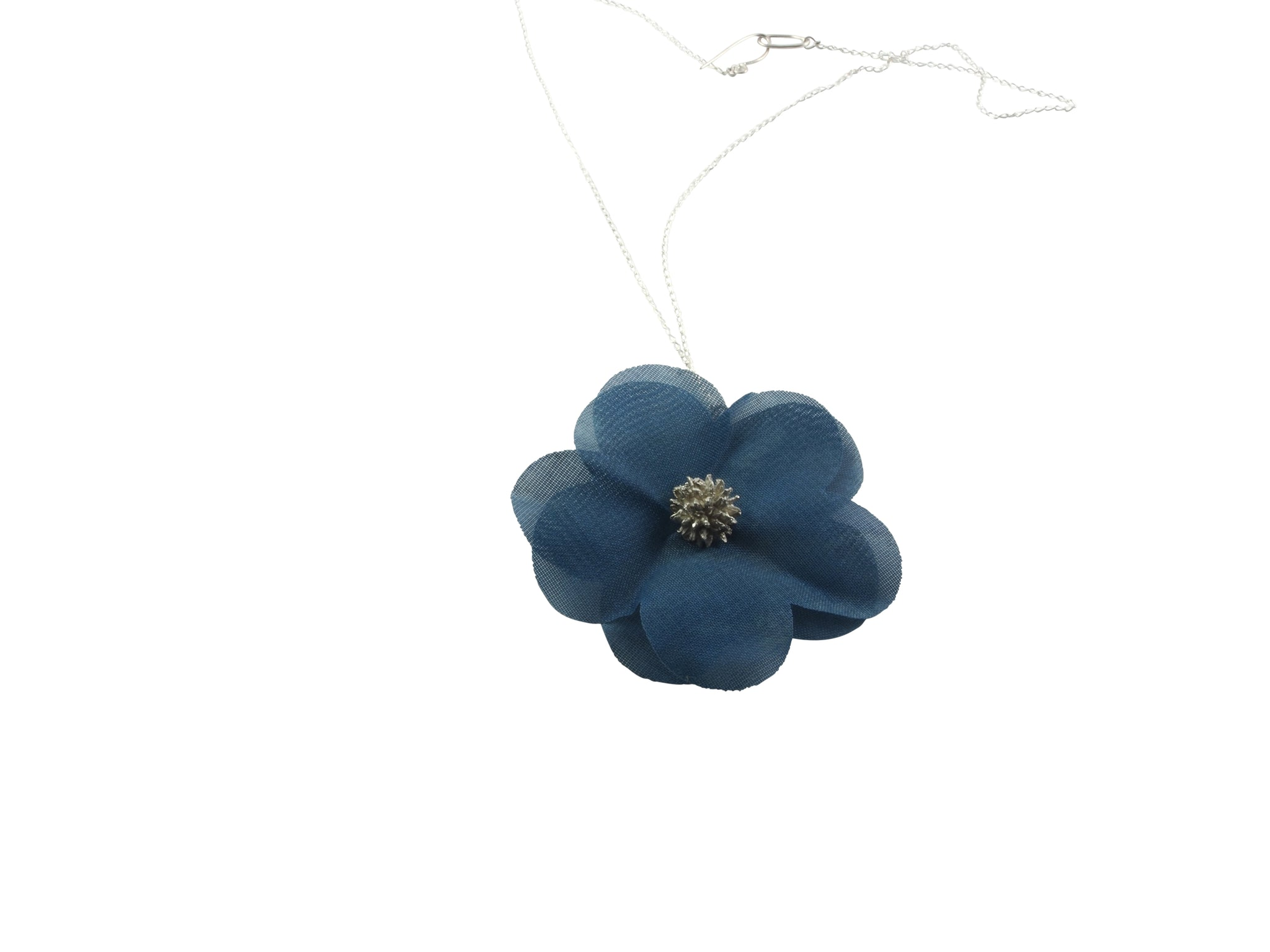 winter rose necklace - Japanese lacquer on fabric, sterling silver
