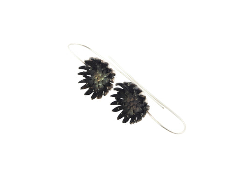 black chrysanthemum earrings