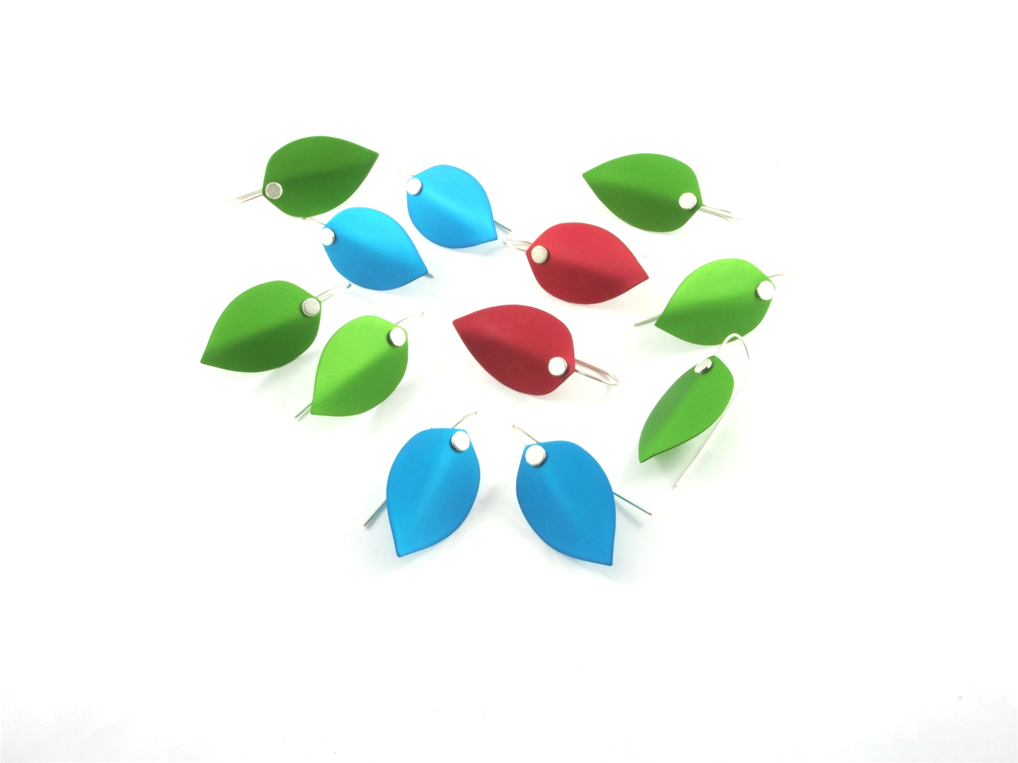 colourful leaf earrings made from sterling silver and anodised aluminium