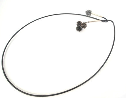 Black button grass necklet by Tasmanian art jeweller janine combes