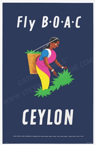 Fly B.O.A.C Ceylon, United Kingdom, 1953. 91 x 58.4cm lithograph.