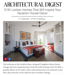 Achitectural Digest highlights Stick No Bills™ posters in June 2016 article on interior design in Sri Lanka.