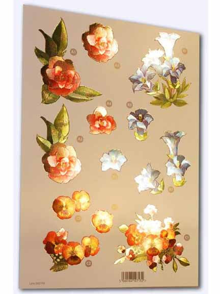 Craft UK - Pink, Blue & Orange Flowers - Metallic