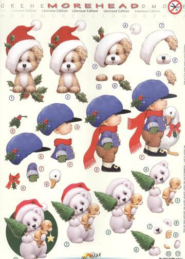 3D Precut Puppy with Santa hat, boy and goose, teddy bear and puppy