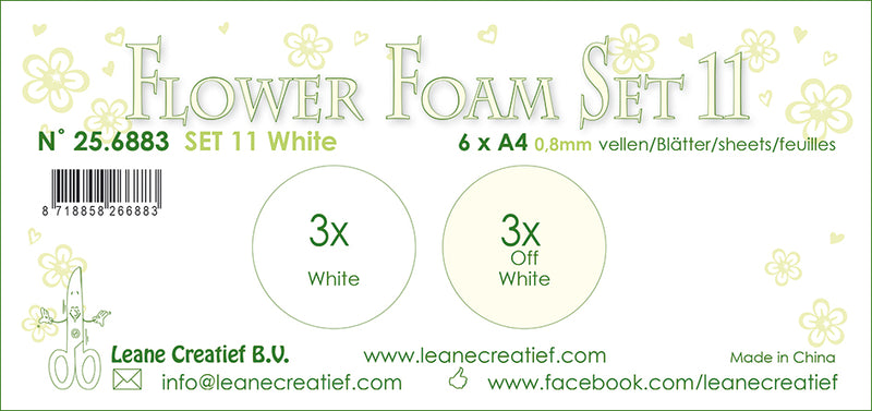 Flower Foam Set 11, 6 Sheets A4 2X3 White Colours