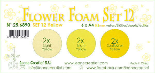 Flower Foam Set 12, 6 Sheets A4 3X2 Yellow Colours