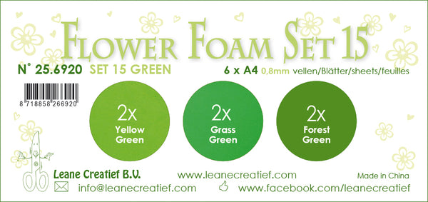 Flower Foam Set 15, 6 Sheets A4 3X2 Green Colours