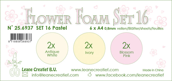 Flower Foam Set 16, 6 Sheets A4 3X2 Pastel Colours 1.