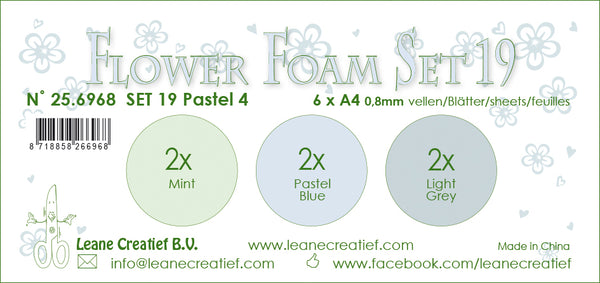 Flower Foam Set 19, 6 Sheets A4 3X2 Pastel Colours 4.