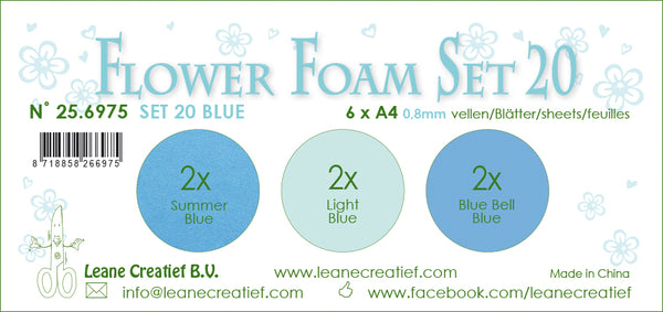 Flower Foam Set 20, 6 Sheets A4 3X2 Blue Colours