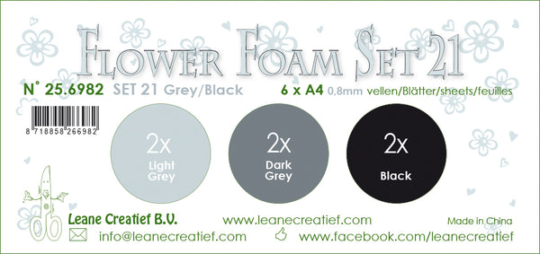 Flower Foam Set 21, 6 Sheets A4 3X2 Grey-Black Colours