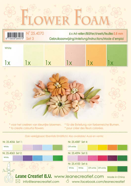 Flower Foam Set 3 6 A4 Sheets - Salmon