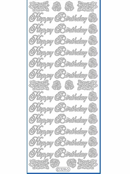 Deco Stickers - Happy Birthday/Rose