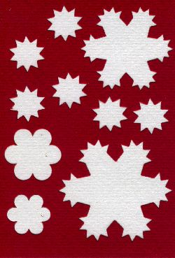 Spirelli die cuts snowflakes white/red