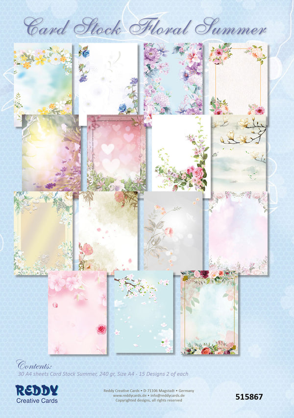 Cardstock Floral Summer 30 A4 Sheets