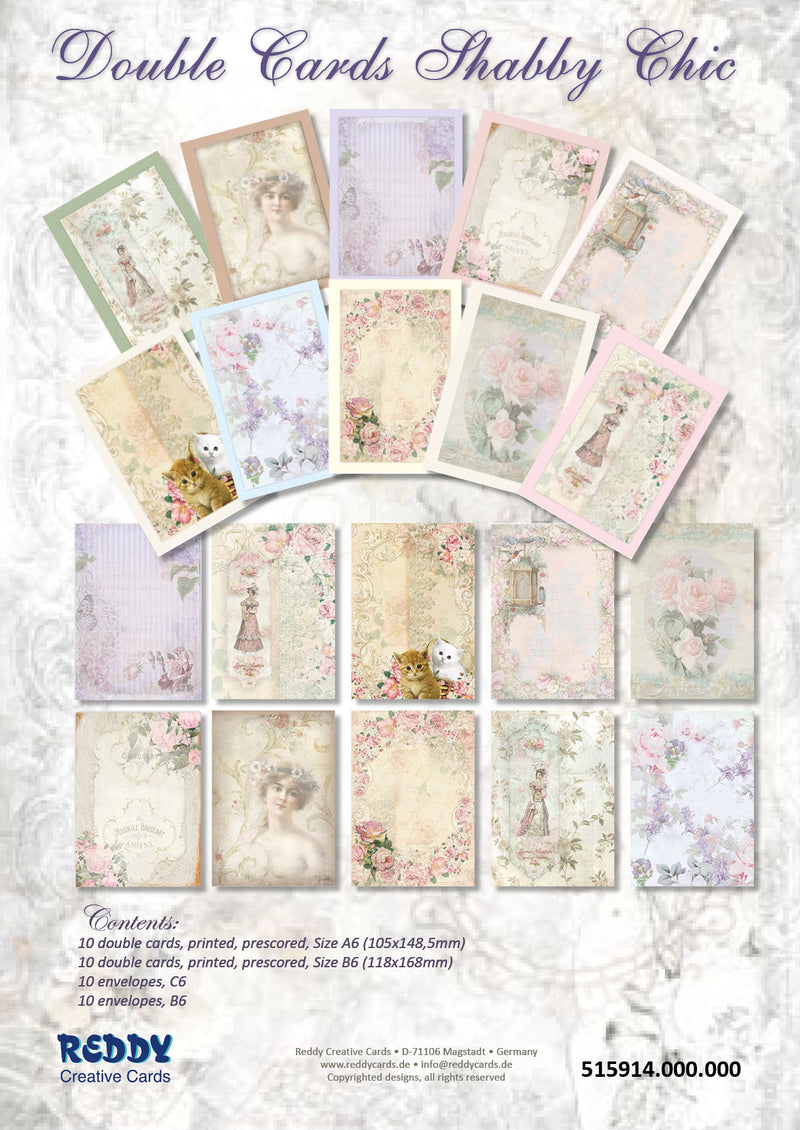 Cardmaking Kit Double Cards Shabby Chic
