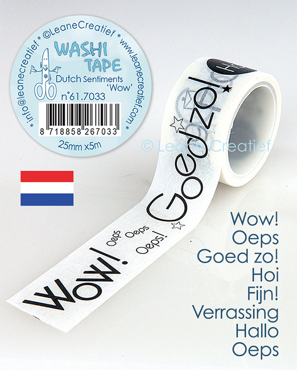 "Washi Tape Dutch Sentiments 1 ""Wow"", 25mm X 5m"