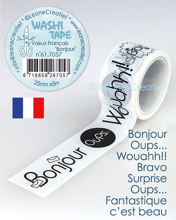 "Washi Tape French Words 1 ""Bonjour…"" 25mm X5m"