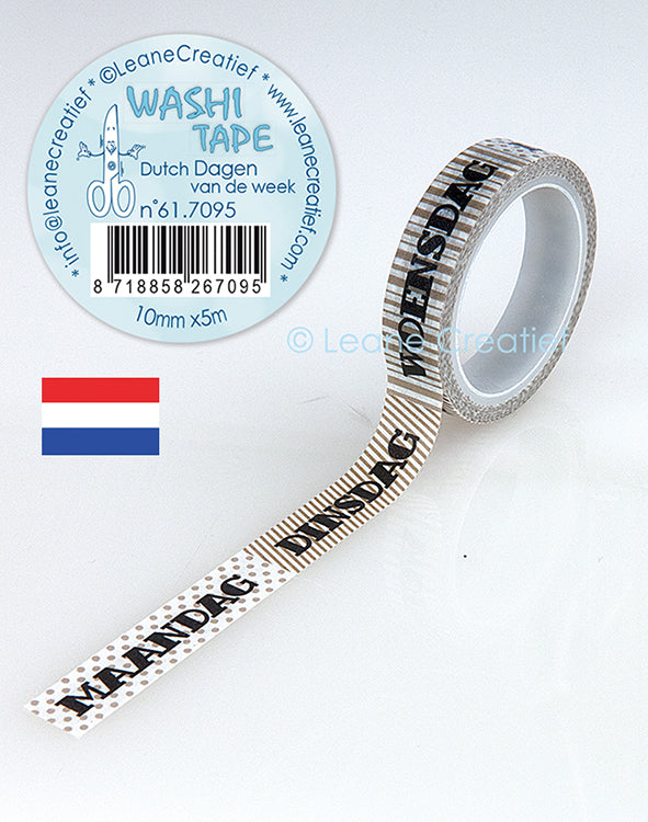 Washi Tape Dutch Dagen Van De Week, 10mm X 5m
