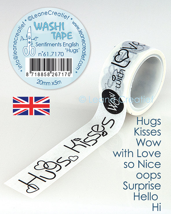 "Washi Tape Sentiment English ""Hugs"", 20mm X 5m"
