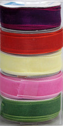 Organza 9mm Ribbon -Box of 5 -Spring Colours