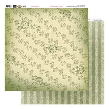 12x12 Patterned Paper  - Line Of Leaves - Vintage Rose Collection (5)