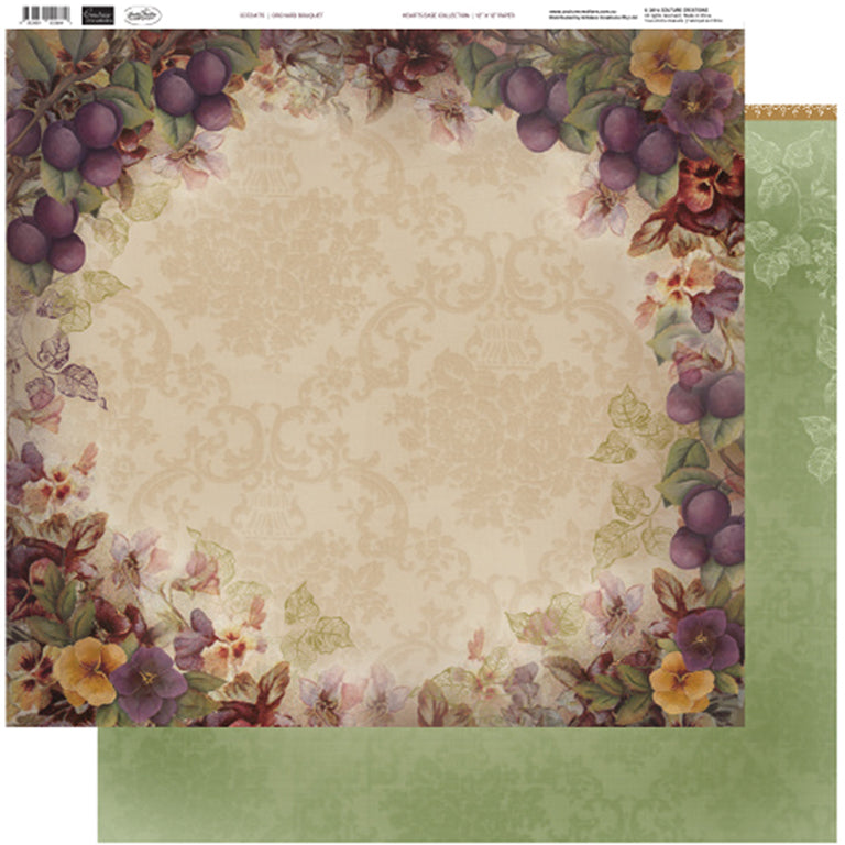 Couture Creations - 12 x 12 Paper (5 sheets) - Orchid Bouquet