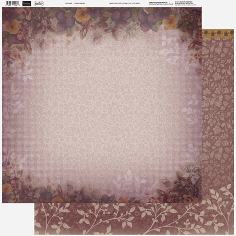 Couture Creations - 12 x 12 Paper (5 sheets) - Fading Pansies