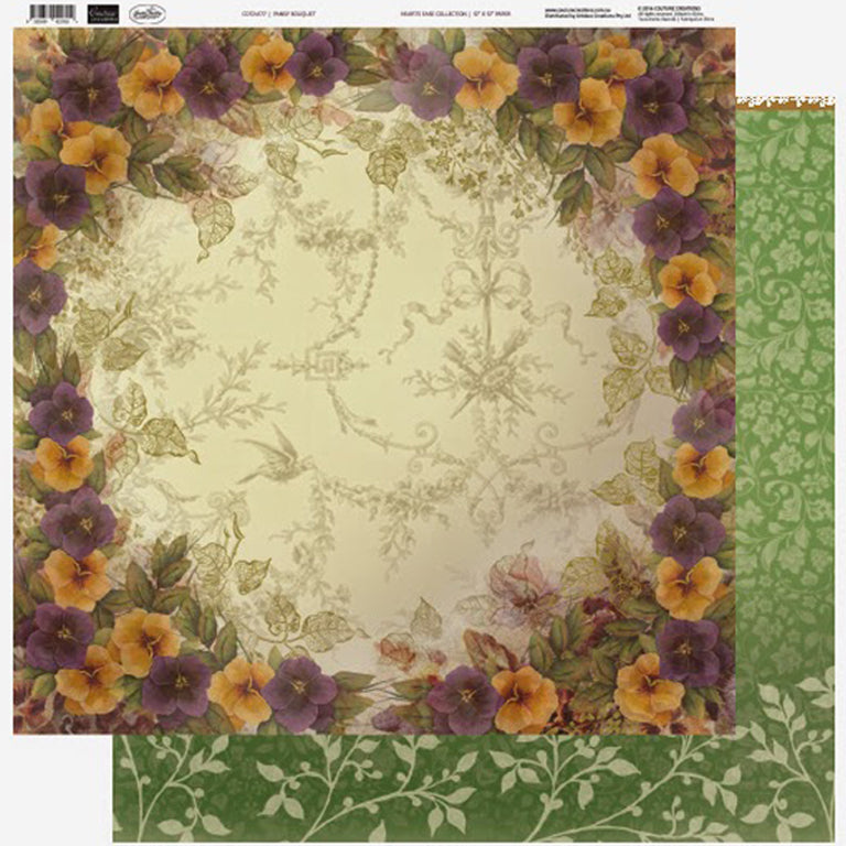 Couture Creations - 12 x 12 Paper Collection (10 sheets) - Pansies