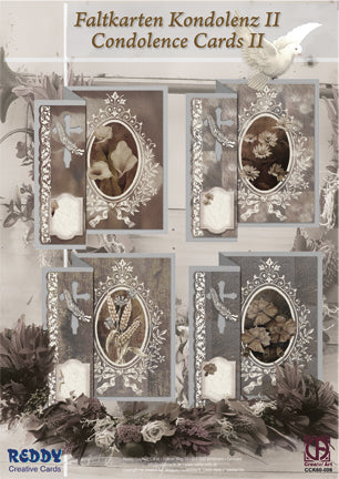 Card Kit - Condolence Cards #2 - 4 Cards sepia flowers