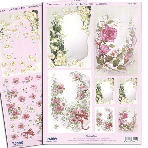 Reddy 3D Die-Cut Card Toppers 2 A4 Sheets - Florals on Old Parchment