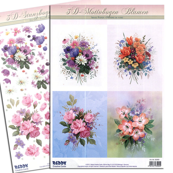 Reddy 3D Die-Cut Card Toppers 2 A4 Sheets - Flower Bouquet