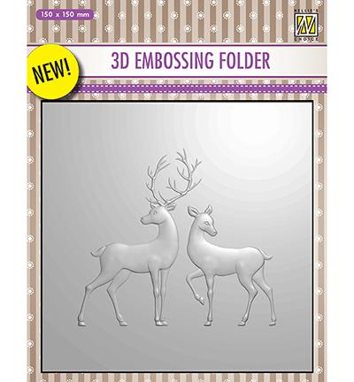 Nelle Choice 3D Embossing Folder - Reindeer