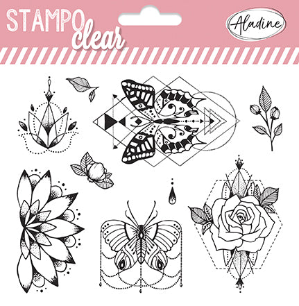 Stampo Peonies & Butterfles Clear Stamp