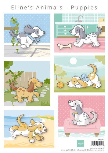 Eline's Animals Puppies A4 Cutting Sheet