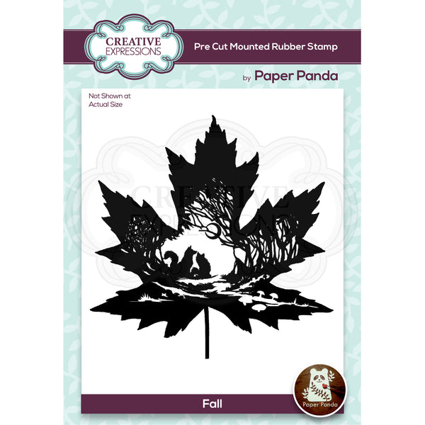 Paper Panda Fall 4.4 in x 4.1 in Pre Cut Rubber Stamp