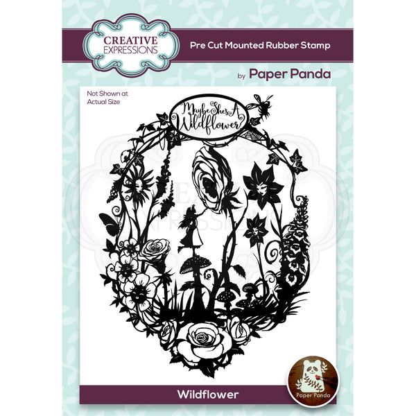 Paper Panda Wildflower 4.0 in x 5.2 in  Pre Cut Rubber Stamp