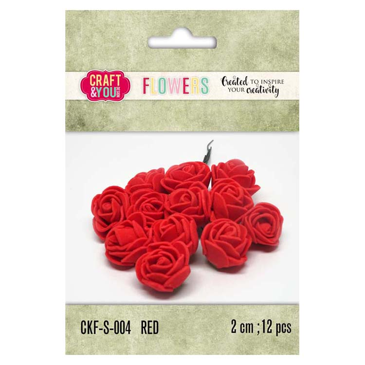 Craft & You Design Foam Roses Set Of 12 Pcs 2Cm
