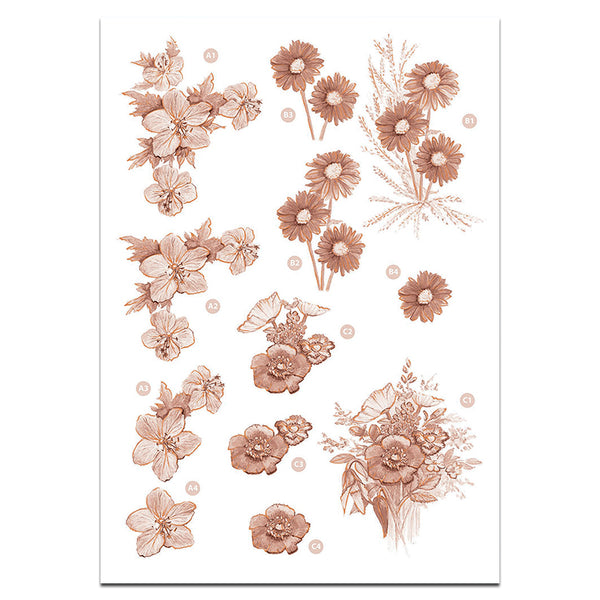 Craft UK Precut 3D Toppers - Floral Sepia Decoupage