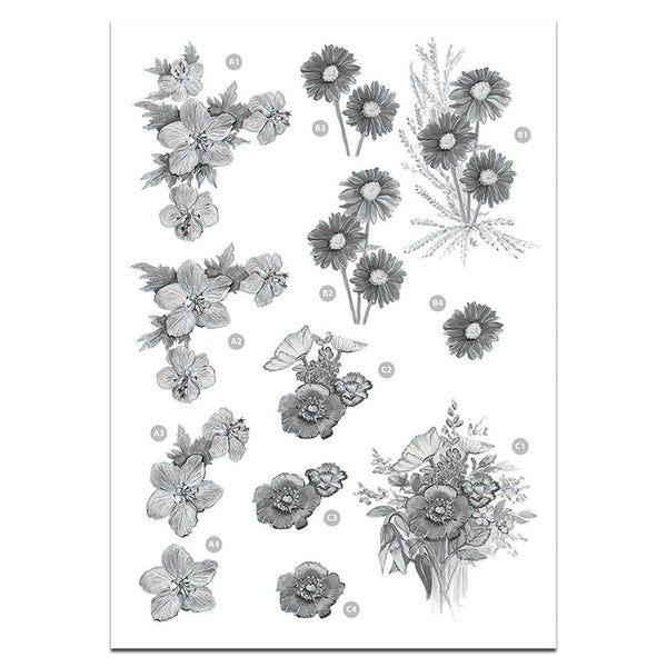 Craft UK Precut 3D Toppers - Floral Monochrome Decoupage