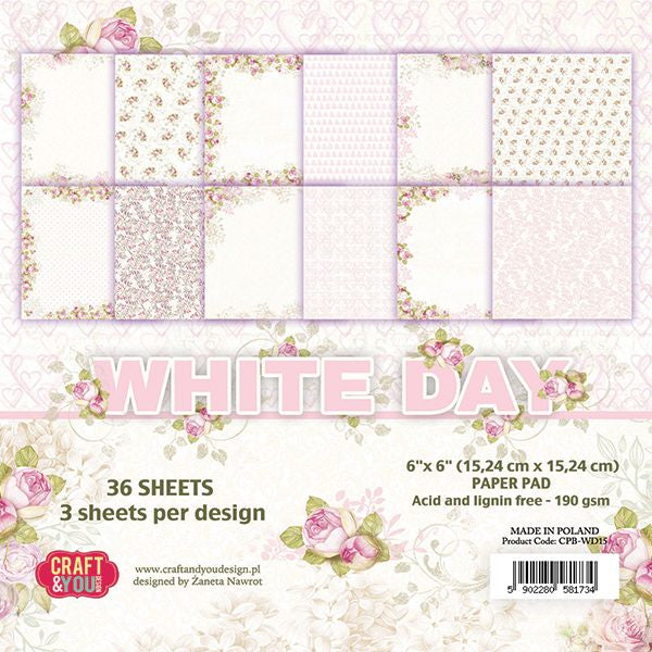 Craft & You Design White Day 6x6 Paper Pad