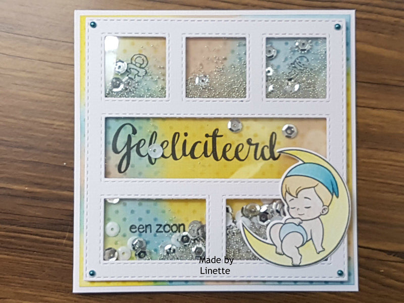 DADA Set Die & Clear Stamp Its A Boy On The Moon