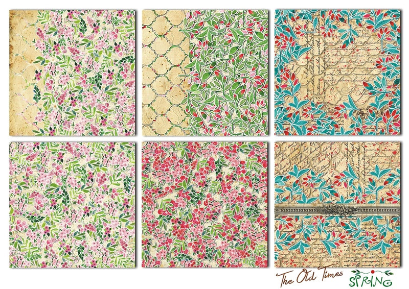 "Decorer 8"" x 8"" Scrapbook Paper Set - The Old Times - Spring"