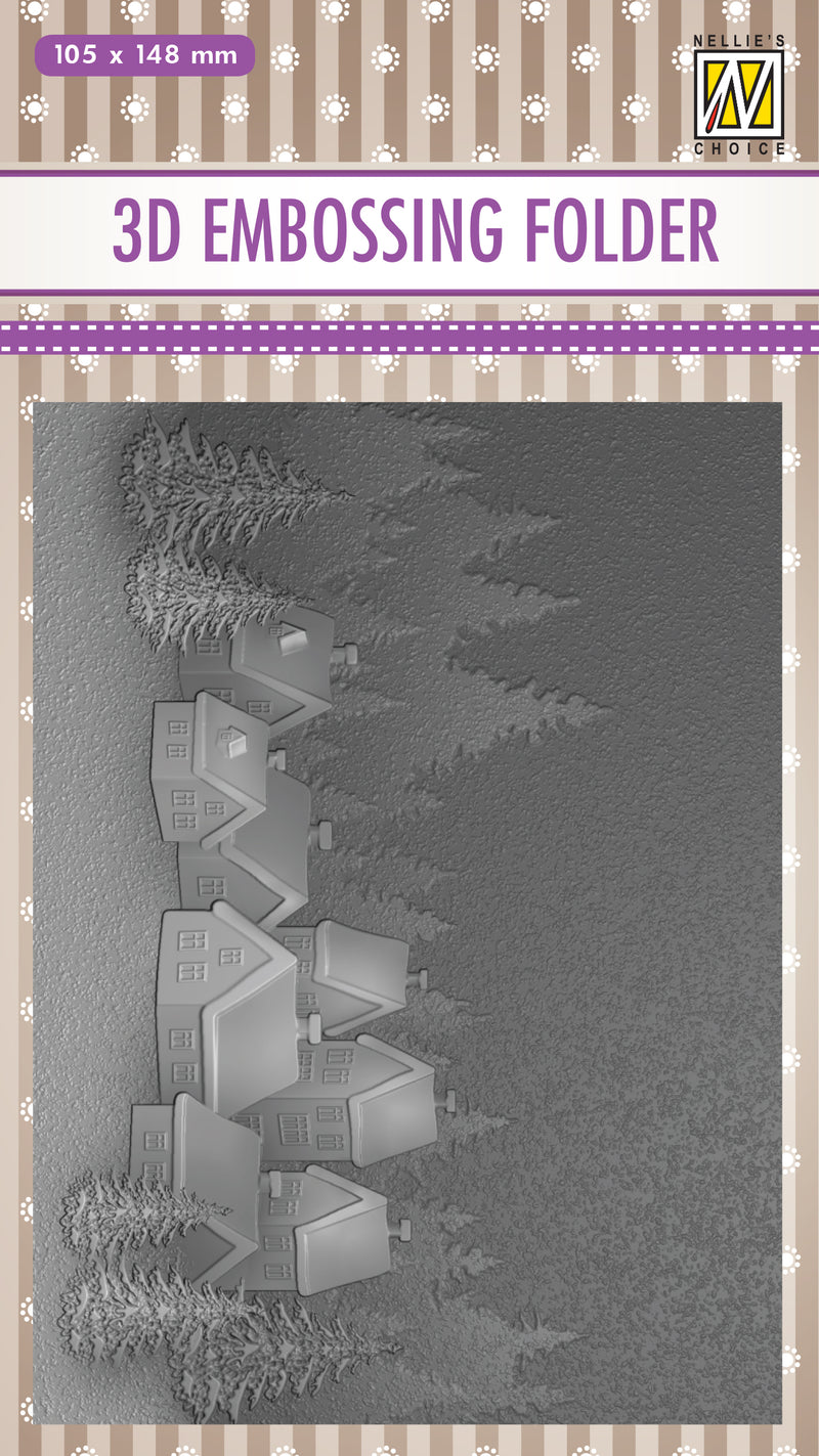 3D Embossing Folder -  Snowy Village